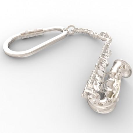 Saxophone keyring in sterling silver 0.925 large