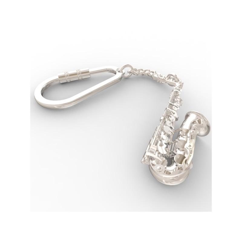 Porte cl s saxophone en argent grand taille art bijoux passion for Taille porte