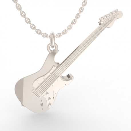 Electric guitar pendant in sterling silver 0.925
