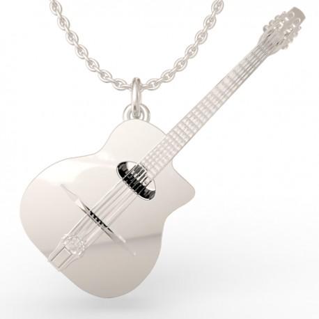 Django guitar pendant in sterling silver 0.925