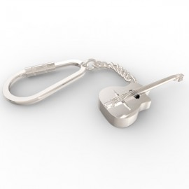 Django guitar keyring in sterling silver 0.925