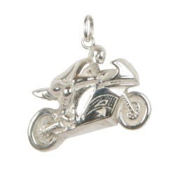 Racing motorbike pendant in sterling silver 0.925 large