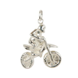 Motocross pendant in sterling silver 0.925 large